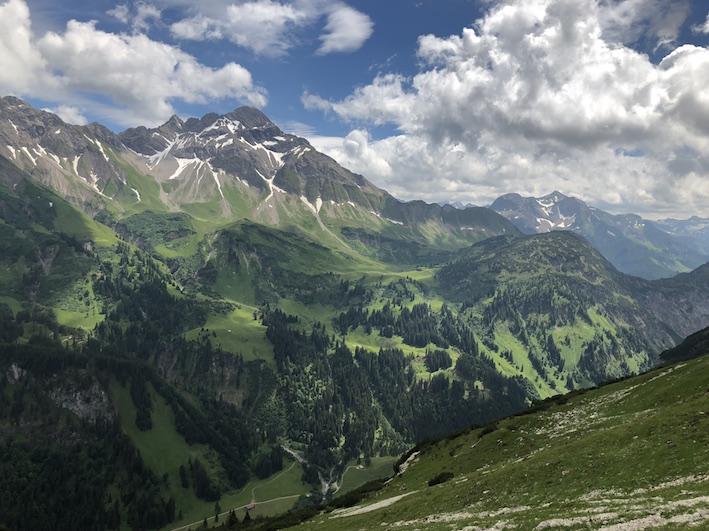 Krumbacher Höhenweg zur Mindelheimer Hütte _Blick ins Rappenalptal